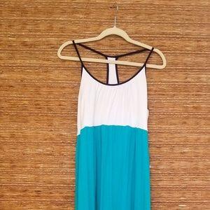 Kenar Teal & White Maxi Dress
